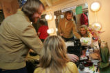 "Annaleigh Ashford, right, talks makeup with her best friend Craig Jessup before her ""Legally..."