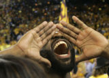 CAJC119 - Golden State Warriors' Baron Davis celebrates after the Warriors beat the Dallas...