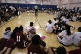 Former Denver Nuggets Star Bill Hanzlik addresses the competitors playing  in the first round of...