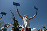 Nick LaPenna (cq), of Commerce City, takes part in the National Day of Prayer, Thursday afternoon,...
