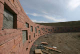 A wall under construction at the Columbine Memorial at Clement Park in Littleton, Colo., on...