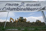 A sign outside the Columbine Memorial at Clement Park in Littleton, Colo., on Monday, April 23,...