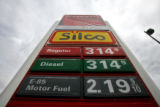 The price of E-85 gasoline is shown at this Conoco station, at the corner of Alameda and Broadway,...