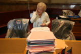 Royda Kimball, (cq) cleans out the drawers of Senator Dave Schulthes. Ms. Kimball is the Chief...