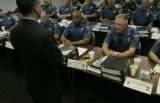 Colorado State Patrol troopers begin their class taught by Alberto Ontivero (cq) with Federal Law...
