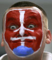 XDL105 - A fan of Slovakia's team reacts during the World Ice Hockey championship quarter final...