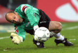 FRA136 - ** FILE ** Moenchengladbach's keeper Kasey Keller from the U.S. makes a save during the...