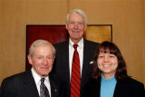 Honorees, from left, John D. Anderson, FAIA, Frederic C. Hamilton and Dr. Deborah S. Jin....
