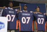 DLM0333  Denver Broncos' 2007 draft picks Jarvis Moss (cq), from left, Timothy Crowder (cq) and...