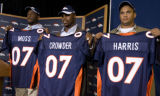 DLM0311  Denver Broncos' 2007 draft picks Jarvis Moss (cq), from left, Timothy Crowder (cq) and...