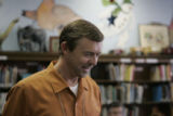 Frank Bingham (cq) finds a smile  in the library of Lincoln Elementary School Monday morning April...