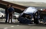 Golden, Colo. 5/15/04 -  In the eastbound lane of I-70 a steel girder fell from the C-470 overpass...