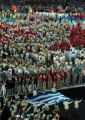 (ATHENS, GREECE, AUGUST 13, 2004)  Athletes from Greece are the last team to parade into Olympic...