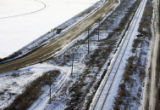 Aerial of the former site of the crossing where the bus accident occurred near Greeley, Colo., on...