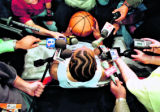 MAY 18, 1999--INDIANAPOLIS, IN --Market Square Arena-- Sixer's Allen Iverson talks with the media...
