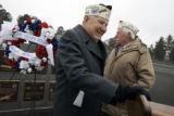 Pearl Harbor survivor Bill Browning (cq) (l), 84, and fellow survivor Walt Himmelberg (cq) (r),...