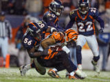 In the fourth quarter, the Denver Broncos Al Wilson (#56, LB) can't prevent the Cincinnati Bengals...