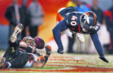 In the fourth quarter, the Denver Broncos Curome Cox (#40, S) breaks up a pass intended for the...