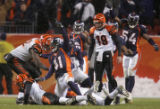 [JPM1089] In the fourth quarter,  Denver Broncos Karl Paymah (41) celebrates with Patrick...