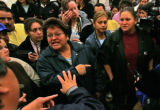 Maria Quiroz, left, mother of Veronica Rodriguez, right, defends her daughter to Swift Union...