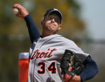 Detroit Tigers pitcher Kyle Sleeth thorws during a bullpen session during Tiger Spring Training in...