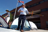 [Denver, CO - Shot on: 8/31/04]  Environmentalists and ordinary citizens pitched tents in front of...