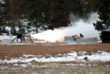 The FalconLAUNCH V rocket motor is test fired in Jacks Valley on Air Force Academy grounds Friday,...