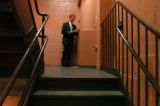 (8/30/04, New York, NY)  Colorado GOV. Bill Owens practices his speech in the stairwell of Madison...
