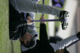 Colorado Rockies right handed pitcher Dave Veres stretches during Spring Training at the Hi...