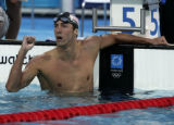(ATHENS, GREECE AUGUST 17, 2004)  United States swimmer Michael Phelps pumps his fist after...