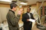 (From left) Kai Abelkis (cq), Boulder Community Hospital's Environmental Coordinator speaks to...