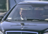 Denver Bronco's head coach Mike Shanahan arrives at the funeral services for Denver Bronco and...