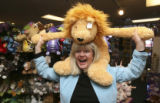 Diana Nelson, (cq), within Kazoo and Company was jumped upon by a stuffed lion. She fended off the...