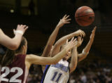Alex Biegner loses her grip on the ball in the 4th period of the Broomfield vs Berthoud game in...