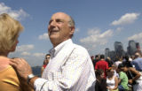 (9/011/2004) New York City-Ted Halaby, Denver, gazes at the Statue of Liberty on a ferry ride to...