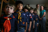 DLM1549  Some of the cub scouts of Pack 459 pose for a photograph at the home of Russ and Rhonda...