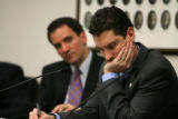 Mitch Ackerman, cq, president of the SEIU, takes notes during House speaker Andrew Romanoff's...