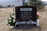 The grave of his Reverend Dr. Milton E. Proby in the Evergreen Cemetery, Colorado Springs, Colo.,...
