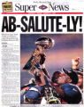 Ab-Salute-ly Terrell Davis with Lombardi Trophy Front Page. January 26, 1998. Super Bowl XXXII...
