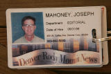 Identification card for Joe Mahoney, staff photographer at the Rocky Mountain News