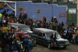 MJM880 Multiple hearses take part in the procession through Nederland, Colo. Saturday for Frozen...
