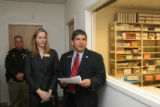 Dacono City Clerk Valerie Elliott-Lucero (cq), middle, and Weld County Clerk Steve Moreno (cq),...