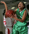 ThunderRidge's D'Ambra Evans, right, drives past Denver East's Brooke Durant, left, in the second...