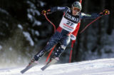VAL108 - Bode Miller of the United States is airborne during training for an Alpine skiing World...