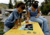 ( Redstone COLO. 8/19/04 ) Emily Schultz, 13 years old - right, and her cousin Michael Kashing ( 5...