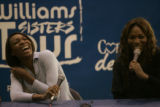 BG0618 Venus, left, and Serena Williams, right, have a lot of fun during a question and answer...