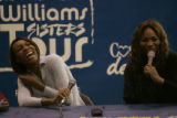 BG0620 Venus, left, and Serena Williams, right, have a lot of fun during a question and answer...