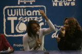 BG0634 Venus, left, and Serena Williams, right, have a lot of fun during a question and answer...