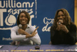 BG0658 Venus, left, and Serena Williams, right, have a lot of fun during a question and answer...