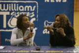 BG0670 Venus, left, and Serena Williams, right, have a lot of fun during a question and answer...